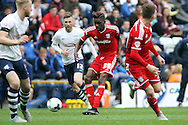 Sammy Ameobi of Cardiff City © passes the ball forward. Skybet football league championship match, Preston North End v Cardiff City at the Deepdale stadium in Preston, Lancashire on Saturday 17th October 2105.<br /> pic by Chris Stading, Andrew Orchard sports photography.