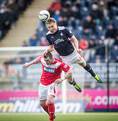 Falkirk's Peter Grant over Brechin City's Andy Jackson. <br /> Falkirk 2 v 1 Brechin City, Scottish Cup fifth round game played today at The Falkirk Stadium.