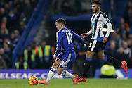 Eden Hazard of Chelsea taking a shot at goal. Barclays Premier league match, Chelsea v Newcastle Utd at Stamford Bridge in London on Saturday 13th February 2016.<br /> pic by John Patrick Fletcher, Andrew Orchard sports photography.