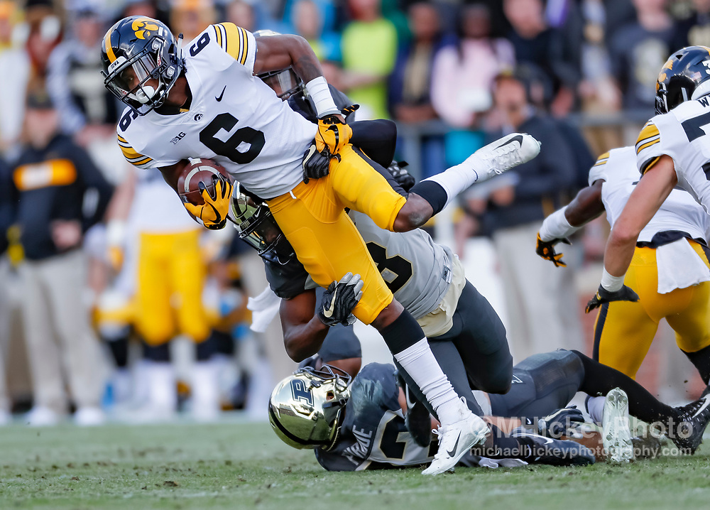 WEST LAFAYETTE, IN - NOVEMBER 03: Ihmir Smith-Marsette #6 of the Iowa Hawkeyes runs the ball during the game against the Purdue Boilermakers at Ross-Ade Stadium on November 3, 2018 in West Lafayette, Indiana. (Photo by Michael Hickey/Getty Images) *** Local Caption *** Ihmir Smith-Marsette
