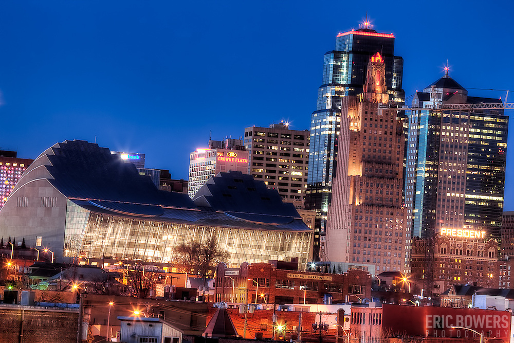 Downtown Kansas City Skyline with the Kauffman Center for the Performing Arts in the foreground nearing completion.