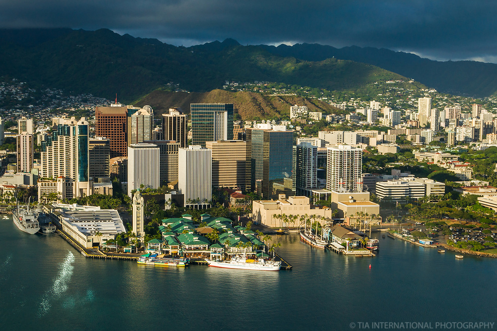 Downtown Honolulu & Punchbowl Crater (center)