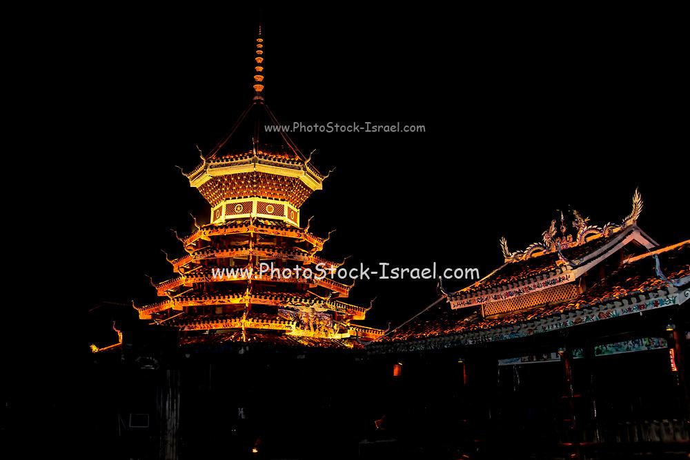 Illuminated Pagoda at night Photographed in China