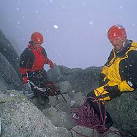 Rob Hart and Ben Wiltsie descend Pigeon Spire in British Columbia's Bugaboo Mountains.