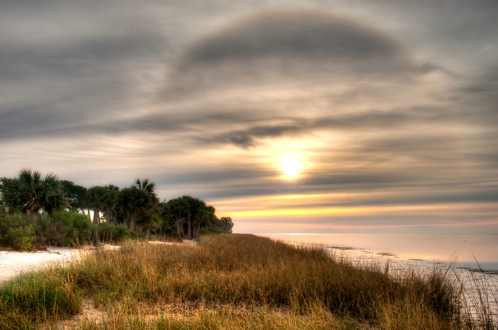 A wild sun halo on a chilly winter day on the Gulf of Mexico, just south of Tallahassee, Florida.