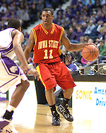 Iowa State guard Will Blalock (11) brings the ball up court against pressure from Kansas State's Clent Stewart in the first half at Bramlage Coliseum in Manhattan, Kansas, February 8, 2006.  K-State defeated the Cyclones 66-63.