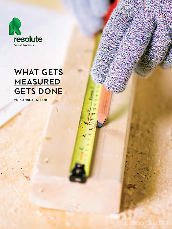 Corporate photography - cover of annual report. Resolute Forest Products. 2014.