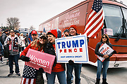 """06 DECEMBER 2020 - DES MOINES, IOWA: People at a rally to support US President Donald Trump. About 1,000 supporters of outgoing US President Donald Trump rallied in Des Moines Sunday to show their support for the President and to protest the outcome of the US Presidential election. They started with a rally in the suburbs of Des Moines then drove in a motorcade through the city, ending at the State Capitol. They repeated many of Trump's discredited claims that the election was marked by fraud and that Trump actually won. The protest was a part of the national """"March for Trump"""" effort, culminating in a march in Washington DC on December 13. Joe Biden won the election, with 306 electoral votes to Trump's 232.       PHOTO BY JACK KURTZ"""