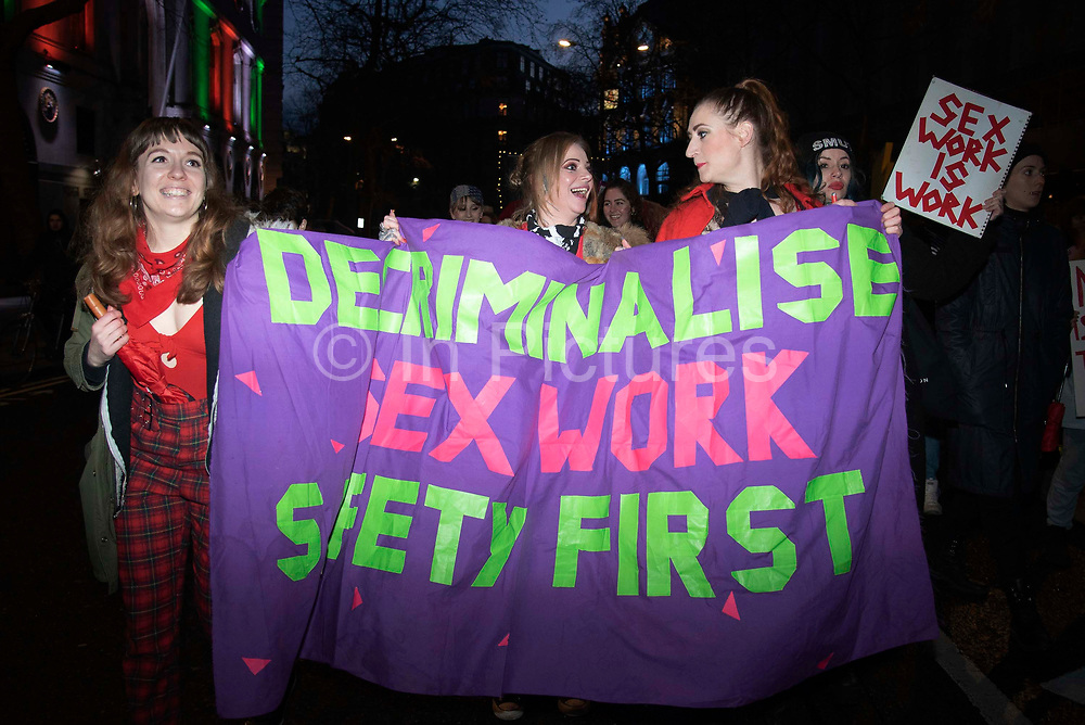 Sex workers go on strike on International Women's Day, marching from Soho to the Royal Court of Justice on 8th March 2020 in London, United Kingdom. Organised by the English Collective of Prostitutes, they are calling on the government to decriminalise sex work.