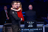 Mark Selby is greeted by his daughter following his win in the World Snooker 19.com Scottish Open Final Mark Selby vs Jack Lisowski at the Emirates Arena, Glasgow, Scotland on 15 December 2019.