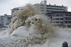 SouthAfrica - Cape Town - 13 July 2020 - The Cape Town storm, consisting of gale-force winds, large ocean swells and disruptive snowfall continues to ravage through the Mother City on Monday 13 July. One more weather element we saw on Monday morning was huge amounts of sea foam that washed onto the coastline in Sea Point. Photographer: Armand Hough/African News Agency(ANA)
