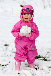 © Licensed to London News Pictures . 21/01/2013 . Manchester , UK . Ellie McIntosh (two) from Salford plays with a large snowball , in Lightoaks Park , Salford . Snowy scenes in Salford , Greater Manchester today (21st January 2013) . Photo credit : Joel Goodman/LNP