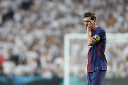 August 17, 2017 - Madrid, Spain - Barcelona's Argentinian forward Lionel Messi reacts during the second leg of the Spanish Supercup football match Real Madrid vs FC Barcelona at the Santiago Bernabeu stadium in Madrid, on August 16, 2017. (Credit Image: © Raddad Jebarah/NurPhoto via ZUMA Press)