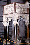 Pulpit in Baptistery of St. John, San Giovanni Baptistery, Pisa, Italy in 1999
