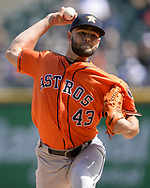 CHICAGO - APRIL 22:  Lance McCullers Jr. #43 of the Houston Astros pitches against the Chicago White Sox on April 22, 2018 at Guaranteed Rate Field in Chicago, Illinois.  (Photo by Ron Vesely)   Subject:   Lance McCullers