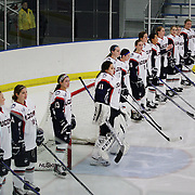 UConn players line up before the UConn Vs Boston University, Women's Ice Hockey game at Mark Edward Freitas Ice Forum, Storrs, Connecticut, USA. 5th December 2015. Photo Tim Clayton