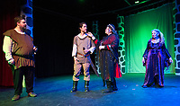 "Brendan Berube (Macbeth), Ray Feola (soldier), Kristine Snow and Evelyn Taylor (witches) during dress rehearsal for ""Macbeth"" with the Streetcar Company Theater at Laconia High School.  (Karen Bobotas/for the Laconia Daily Sun)"