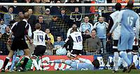 Photo: Paul Thomas.<br /> Preston North End v Manchester City. The FA Cup. 18/02/2007.<br /> <br /> Georgios Samaras (Ground) of Man City scores the winning goal.