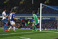 Romelu Lukaku of Everton gets the ball at the back post and taps it in to  score his teams 1st goal to make it 1-1. Barclays Premier league match, Everton v Crystal Palace at Goodison Park in Liverpool, Merseyside on Monday 7th December 2015.<br /> pic by Chris Stading, Andrew Orchard sports photography.