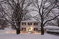 Middletown, NY - A home decorated with holiday lights during a winter storm on Dec. 19, 2008.