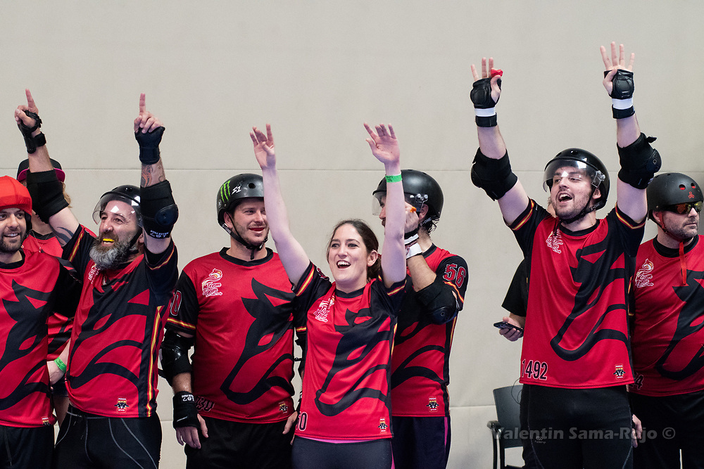 Players of Team Spain cheering the team from the bench during the game against Team Belgium at MRDWC2018 in Barcelona, Spain.