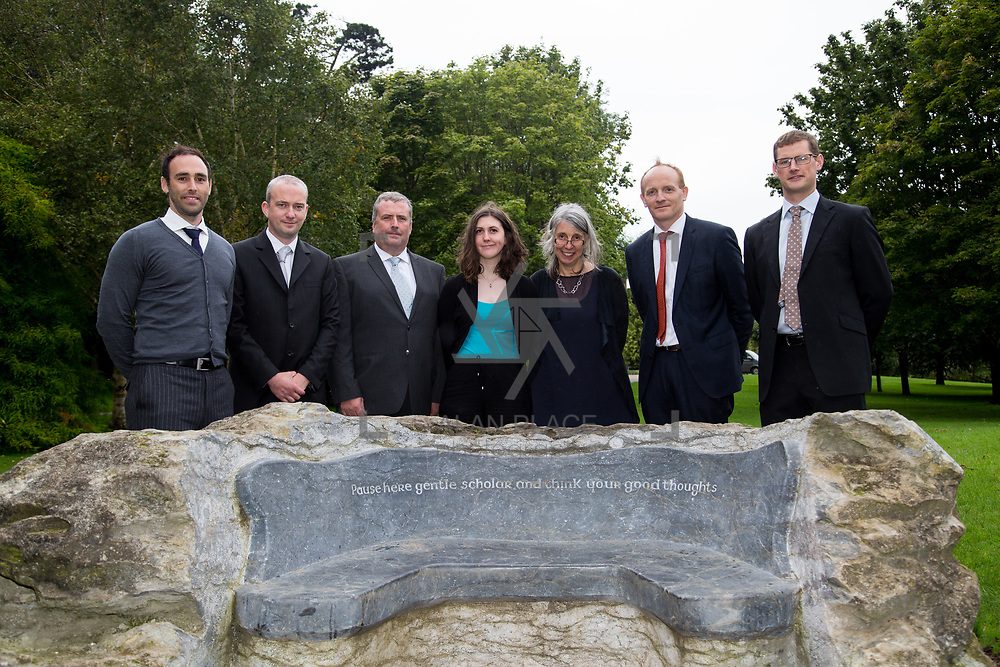 29.08. 2017.                                                   <br /> A new scholarship, the Roibeárd Thornton Memorial-Janssen Scholarship, was launched at the University of Limerick, named in memory of Dr Roibeárd Thornton, a graduate of the University. Dr Thornton, who had been working with Janssen Pharmaceuticals in Cork for over 4 years, had just returned to Limerick with his family when he was tragically killed in a car crash in January 2016.<br /> <br /> Pictured at the event with Scholarship recipient, Niamh Phelan, Kilkenny and Dr. Jakki Cooney, Dept. Biological Sciences UL were Janssen representatives left to right, Gary Grant, John Drew, Declan Lowney, Dr. Patrick Sheehy and Kieran O'Callaghan.<br /> <br /> <br /> A special seat using rock from the family land of Dr Roibeárd Thornton, was commissioned by his UL science family and brought to campus as a permanent reminder of his gentle soul. It is positioned close to Plassey House overlooking a grass valley with the River Shannon in view. Picture: Alan Place<br /> <br /> <br /> For more information, contact:<br /> Sarah Hartnett, University of Limerick Foundation Tel: 086-3872863; Email: sarah.hartnett@ul.ie