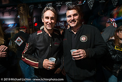 Mike Wolf of American Pickers with Indian Motorcycles President Steve Menneto at the Full Moon Saloon Indian owners party on Main Street during Daytona Bike Week, FL., USA. March 8, 2014.  Photography ©2014 Michael Lichter.