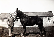 young adult farmer with horse 1930s Holland