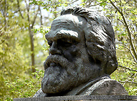 people visiting the grave of Karl Marx at Highgate Cemetery london  on his birthday photo by Krisztian  Elek