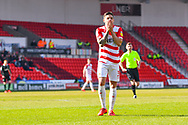 Danny Andrew of Doncaster Rovers (3) reacts to a shot blocked wide during the EFL Sky Bet League 1 match between Doncaster Rovers and Plymouth Argyle at the Keepmoat Stadium, Doncaster, England on 13 April 2019.