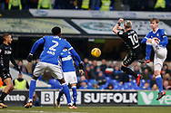 Ezgjan Alioski of Leeds United  Ipswich Town midfielder Callum Connolly (16) battles for possession during the EFL Sky Bet Championship match between Ipswich Town and Leeds United at Portman Road, Ipswich, England on 13 January 2018. Photo by Phil Chaplin.