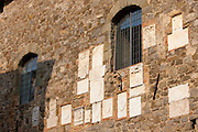 Tiles at the Old City Hall celebrating each year's wine vintage, Le Annate del Brunello, Montalcino, Val D'Orcia,Tuscany, Italy