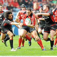 27 April 2008; David Wallace, Munster, is tackled by Richard Haughton, left, and Neil De Kock, Saracens. Heineken Cup Semi-Final, Saracens v Munster, Ricoh Arena, Coventry, England. Picture credit: Stephen McCarthy / SPORTSFILE *** Local Caption ***