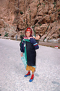 Morocco, Todra Gorge (Wadi Todra) Nomad woman and child