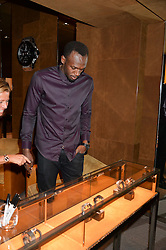 The World's fastest man Usain Bolt attended the Launch of the Unico All Black Limited Series for Hublot Boutiques held at the Hublot London Boutique, Bond Street, London on 28th August 2014.<br /> Picture Shows:-USAIN BOLT.