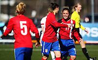 Football<br /> UEFA WU19 , Second Qualifying Round<br /> UKI Arena Jessheim 04.04.13<br /> England - Serbia<br /> Aleksandra Savanovic celebrates her free-kick goal with Jelena Cubrilo<br /> Foto: Eirik Førde