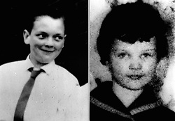 A composite picture of Moors murder victims John Kilbride (L) , 12, and Lesley-Ann Downey, 10, whose bodies were found in shallow graves on Saddleworth Moors near Manchester in 1966. Myra Hindley and her lover Ian Brady were jailed in 1966 for the killings.