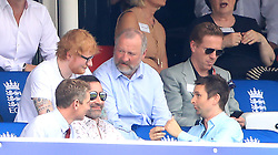 Ed Sheeran (left) Damian Lewis (right) in the stands during the ICC Cricket World Cup group stage match at Lord's, London.