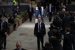 October 4, 2017 - Manchester, Greater Manchester, UK - Manchester, UK. Prime Minister THERESA MAY and her husband PHILIP MAY cross to the auditorium ahead of Theresa May delivering her keynote speech on the fourth and final day of the Conservative Party Conference at the Manchester Central Convention Centre  (Credit Image: © Joel Goodman/London News Pictures via ZUMA Wire)