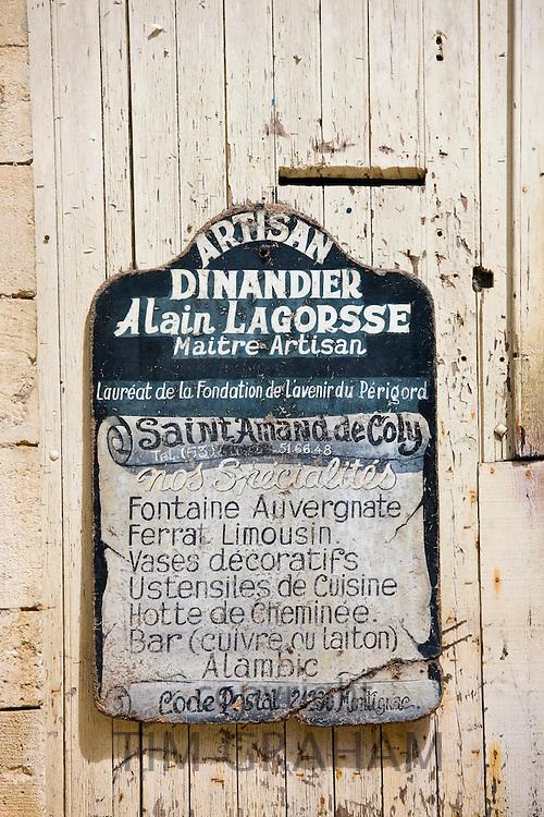 Premises of artisan Dinandier blacksmith Alain LaGorsse at St Amand de Coly, Dordogne, France