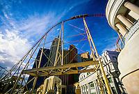The Manhattan Express rollercoaster and the New York New York Hotel and Casino, Las Vegas Boulevard (the Strip), Las Vegas, Nevada USA