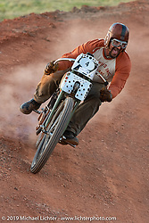 Billy Lane racing his old 1919 Harley-Davidson model F on the Sons of Speed banked oval track at the Full Throttle Saloon during the Sturgis Black Hills Motorcycle Rally. Sturgis, SD, USA. Tuesday, August 6, 2019. Photography ©2019 Michael Lichter.