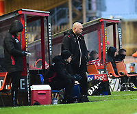 Morecambe manager Jim Bentley shouts instructions to his team from the technical area<br /> <br /> Photographer Andrew Vaughan/CameraSport<br /> <br /> The EFL Sky Bet League Two - Saturday 15th December 2018 - Lincoln City v Morecambe - Sincil Bank - Lincoln<br /> <br /> World Copyright © 2018 CameraSport. All rights reserved. 43 Linden Ave. Countesthorpe. Leicester. England. LE8 5PG - Tel: +44 (0) 116 277 4147 - admin@camerasport.com - www.camerasport.com