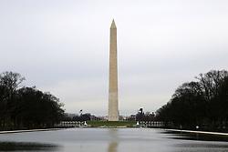 THEMENBILD - Blick auf den Reflecting Pool und das Washington Monument vom Lincoln Memorial aus. Reisebericht, aufgenommen am 12. Jannuar 2016 in Washington D.C. // View of the Reflecting Pool and the Washington Monument from Lincoln Memorial from. Travelogue, Recorded January 12, 2016 in Washington DC. EXPA Pictures © 2016, PhotoCredit: EXPA/ Eibner-Pressefoto/ Hundt<br /> <br /> *****ATTENTION - OUT of GER*****