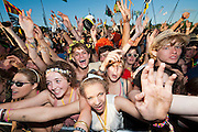 The crowd for Elbow in front of the Pyramid stage. The Glastonbury Festival, Worthy Farm, Glastonbury.