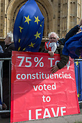 A Brexiteer protestor voices his objections to the handling of Brexit/Brussels negotiations protest on College Greeen in Westminster, the morning after another of Prime Minister Theresa Mays Brexit deal votes failed again in Parliament, on 13th March 2019, in London, England.