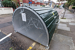 Secure bikehanger cycle parking supplied by The Gardens Residents Association, London Borough of Haringey, London UK 2014