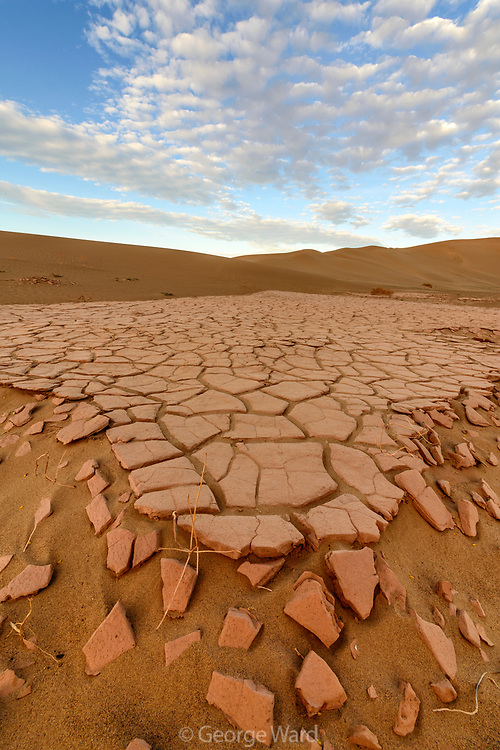 Crumbling Lakebed Playa, and Clouds, Death Valley National Park, California