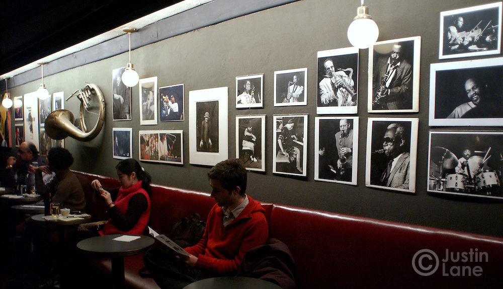 A view of the walls at the Village Vanguard in New York City, adorned with pictures of jazz greats who played at the club.<br /> JUSTIN LANE FOR THE DETROIT FREE PRESS