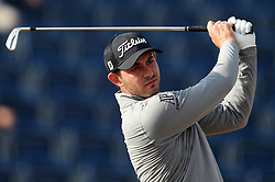 USA's Patrick Cantlay tees off the 3rd during day one of The Open Championship 2018 at Carnoustie Golf Links, Angus. PRESS ASSOCIATION Photo. Picture date: Thursday July 19, 2018. See PA story GOLF Open. Photo credit should read: David Davies/PA Wire. RESTRICTIONS: Editorial use only. No commercial use. Still image use only. The Open Championship logo and clear link to The Open website (TheOpen.com) to be included on website publishing.